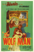 "Movie Posters:Horror, The Wolf Man (Realart, R-1948). One Sheet (27"" X 41""). This Realartone sheet with its eerie symbolism and Lon Chaney Jr. in..."