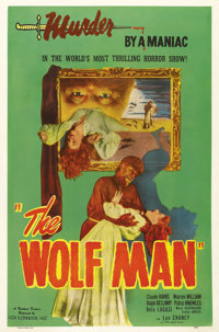 "The Wolf Man (Realart, R-1948). One Sheet (27"" X 41""). This Realart one sheet with its eerie symbolism and Lon..."