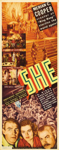 """Movie Posters:Horror, She (RKO, 1935). Insert (14"""" X 36""""). This fantastic insert displays dramatic images from some of the film's highlights, incl..."""
