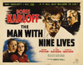 "Movie Posters:Mystery, The Man With Nine Lives (favorite Films, R-1950). Half Sheet (22"" X28""). Nice looking re-release poster for Boris Karloff h..."