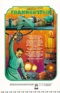 """Frankenstein (Film Classics Library, 1974). Promotional Poster (30"""" X 47.5""""). Beautiful poster used in the dis..."""