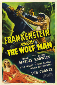 "Frankenstein Meets the Wolfman (Universal, 1943). One Sheet (27"" X 41""). What's better than a poster with a vi..."