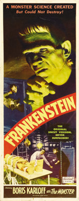 """Frankenstein (Realart, R-1951). Insert (14"""" X 36""""). With its stunning image of Boris Karloff as the Monster, t..."""