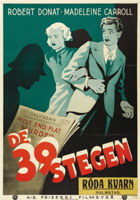 "The 39 Steps (Gaumont, 1935). Swedish One Sheet (27.5"" X 39.5""). Directed by Alfred Hitchcock, this thriller S..."