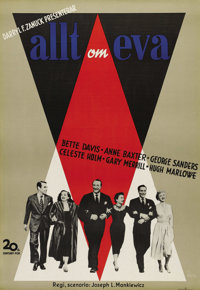 """All About Eve (20th Century Fox, 1950). Swedish One Sheet (27.5"""" X 39.5""""). Directed by Joseph L. Mankiewicz. S..."""
