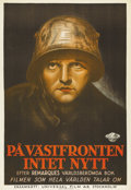 "Movie Posters:War, All Quiet on the Western Front (Universal, 1930). Swedish One Sheet(27.5"" X 39.5""). Directed by Lewis Milestone. Starring L..."
