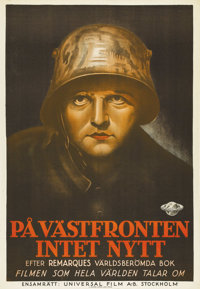 "All Quiet on the Western Front (Universal, 1930). Swedish One Sheet (27.5"" X 39.5""). Directed by Lewis Milesto..."