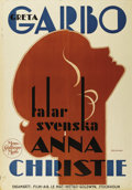 "Movie Posters:Drama, Anna Christie (MGM, 1930). Swedish One Sheet (27.5"" X 39.5"").Directed by Clarence Brown. Starring Greta Garbo, George F. Ma..."