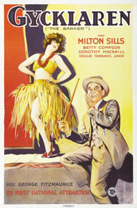 "The Barker (First National, 1928). Swedish One Sheet (27.5"" X 39.5""). Directed by: George Fitzmaurice. Starrin..."