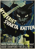 """Movie Posters:Horror, The Black Cat (Universal, 1941). Swedish One Sheet (27.5"""" X 39.5""""). Directed by Albert S. Rogell. Starring Basil Rathbone an..."""