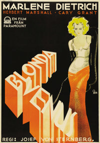 "Blonde Venus (Paramount, 1932). Swedish One Sheet (27.5"" X 39.5""). Director Josef Von Sternberg. Starring Marl..."