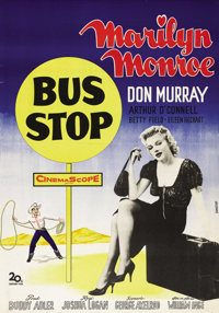 "Bus Stop (20th Century Fox, 1956). Swedish One Sheet (27.5"" X 39.5""). Directed by Joshua Logan. Starring Maril..."