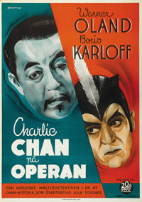 """Charlie Chan at the Opera (20th Century Fox, 1936). Swedish One Sheet (27.5"""" X 39.5""""). Directed by H. Bruce Hu..."""