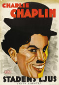 "Movie Posters:Comedy, City Lights (United Artists, 1931). Swedish One Sheet (27.5"" X39.5""). Directed by Charles Chaplin. Starring Charlie Chaplin..."