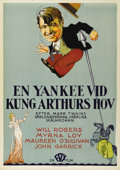 "Movie Posters:Comedy, A Connecticut Yankee (Fox, 1931). Swedish One Sheet (27.5"" X39.5""). Directed by David Butler. Starring Will Rogers, William..."