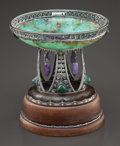 Decorative Arts, Continental:Other , A ZAUN GERMAN SECESSIONIST SILVER, AMETHYST AND CHRYSOPRASE BOWL ONWOOD BASE . Zaun, Germany, circa 1910. Marks: ZAUN, 8...