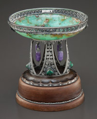 A ZAUN GERMAN SECESSIONIST SILVER, AMETHYST AND CHRYSOPRASE BOWL ON WOOD BASE Zaun, Germany, circa 1910 Marks