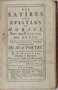 Books:Literature Pre-1900, [Horace]. The Satires and Epistles of Horace, Done into English,with Notes. London : printed by M. Jenour, for ...