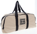 Luxury Accessories:Bags, Chanel Tan & Black Canvas Carryall Travel Bag. ...