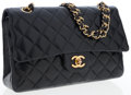 Luxury Accessories:Bags, Chanel Black Lambskin Leather Medium Classic Double Flap Bag withGold Hardware. ...