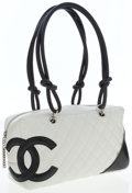 Luxury Accessories:Bags, Chanel White & Black Quilted Lambskin Leather Cambon Bag. ...