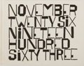 Books:Literature 1900-up, Ben Shahn [illustrator]. Wendell Berry. November Twenty Six Nineteen Hundred Sixty Three. Braziller, 1964. First edi...