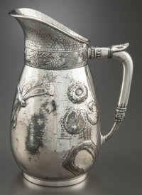 A ROGERS, SMITH & COMPANY SILVER-PLATED WATER PITCHER Rogers, Smith & Co., Meriden, Connecticut, circa 1862-1865