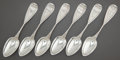 Silver Flatware, American:Coin Silver, A CASED SET OF SIX JAMES WATTS COIN SILVER TEA SPOONS. James Watts,Philadelphia, Pennsylvania, circa 1850. Marks: (horse he... (Total:6 )