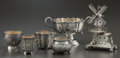 Silver Holloware, Chinese Export:Holloware, A CHINESE EXPORT SILVER TABLE ORNAMENT, FOUR OPEN SALTS AND A HANDLED CUP. Various makers, China, circa 1900. Marks: Various... (Total: 6 )