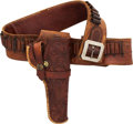 Western Expansion, Combination Unmarked Western Cartridge Money Belt and Heiser MarkedHolster Ensemble....