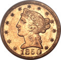 Liberty Half Eagles, 1850-D $5 AU55 PCGS. Variety 28-S (formerly 24-P)....