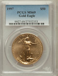Modern Bullion Coins: , 1997 G$50 One-Ounce Gold Eagle MS69 PCGS. PCGS Population (990/18).NGC Census: (823/65). Mintage: 664,508. Numismedia Wsl....