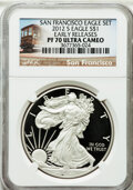 Modern Bullion Coins, 2012-S $1 One Ounce Silver Eagle, Struck at San Francisco Mint,Early Releases PR70 Ultra Cameo NGC. NGC Census: (0). P...