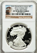 Modern Bullion Coins, 2012-S $1 One Ounce Silver Eagle, San Francisco Set, Early ReleasesPR70 Ultra Cameo NGC. NGC Census: (0). PCGS Pop...