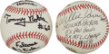 Autographs:Baseballs, Football Legends Signed Baseballs Lot Of 2 With LengthyInscriptions....