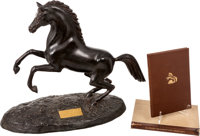 Rare Limited Edition Rampant Colt Bronze Statue #29 of 100 Together with Accompanying Book, The Rampant Colt, by R.L. Wi...