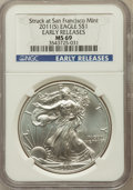 Modern Bullion Coins, 2011 $1 One Ounce Silver Eagle, Struck at San Francisco Mint, EarlyReleases MS69 NGC. NGC Census: (674316/52895). PCGS Pop...