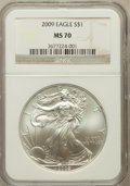 Modern Bullion Coins, 2009 $1 Silver Eagle MS70 NGC. NGC Census: (4543). PCGS Population(20744). Numismedia Wsl. Price for problem free NGC/PCG...