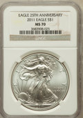 Modern Bullion Coins, 2011 $1 Silver Eagle, 25th Anniversary MS70 NGC. NGC Census:(3411). PCGS Population (373). ...