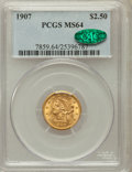 Liberty Quarter Eagles: , 1907 $2 1/2 MS64 PCGS. CAC. PCGS Population (2229/1519). NGCCensus: (2085/1546). Mintage: 336,200. Numismedia Wsl. Price f...