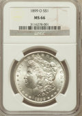Morgan Dollars: , 1899-O $1 MS66 NGC. NGC Census: (1081/109). PCGS Population(1213/93). Mintage: 12,290,000. Numismedia Wsl. Price for probl...