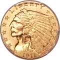 Indian Quarter Eagles, 1911-D $2 1/2 Strong D MS64 PCGS....