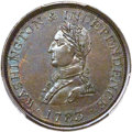 Colonials, 1783 1C Washington & Independence Cent, Small Military Bust,Engrailed Edge MS63 Brown PCGS. Baker-4B, W-10150, R.6....