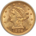 Liberty Quarter Eagles: , 1906 $2 1/2 MS64 PCGS. PCGS Population (1121/785). NGC Census:(1093/865). Mintage: 176,300. Numismedia Wsl. Price for prob...