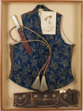 Western Expansion, Shadow-Box Framed Antique Western Vest Ensemble....