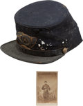Militaria:Uniforms, Identified Civil War Officer's Forage Cap With Original Insignia and CDV of the Officer Wearing the Hat. ...