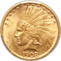 Indian Eagles, 1908 $10 No Motto MS63 PCGS. CAC....