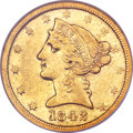 Liberty Half Eagles, 1842-D $5 Large Date XF40 NGC. Variety 9-G....