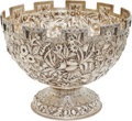 Military & Patriotic:Civil War, Jefferson Davis: An Exceptional Samuel Kirk & Son Castellated Repousse Coin Silver Bowl Presented to Mrs. Jefferson Davis by t...