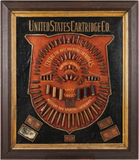 Antique Ammunition Cartridge Display Board by United States Cartridge Company